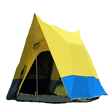 CAMEL 3-4 persons Tent Double Camping Tent One Room Automatic Tent Ventilation Dust Proof Foldable for Camping / Hiking >3000mm Silver