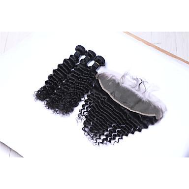 baratos Extensões de Cabelo Natural-3 pacotes com fechamento Cabelo Brasileiro Onda Profunda Cabelo Humano Cabelo Humano Ondulado Tramas de cabelo humano Extensões de cabelo humano