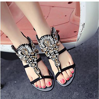 Naiset Kengät PU Kevät Comfort Sandaalit Käyttötarkoitus Kausaliteetti Musta