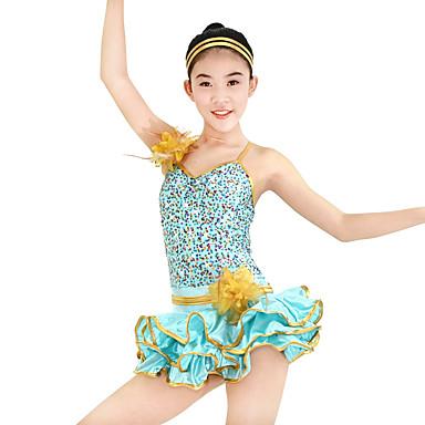 Jazz Kleider Damen Kinder Leistung Polyester Elasthan Pailletten Paillette Pailetten Blume Rüschen Ärmellos Niedrig