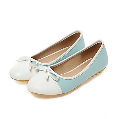 Mulheres Sapatos Couro Ecológico Primavera / Outono Conforto / Inovador Rasos Caminhada Sem Salto Ponta Redonda Laço Preto / Azul / Rosa