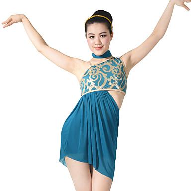 Latein-Tanz Austattungen Damen Leistung Elasthan / Pailletten Paillette / Seiten-drapiert Ärmellos Hoch Kleid / Unterhose / Schal / Latintanz