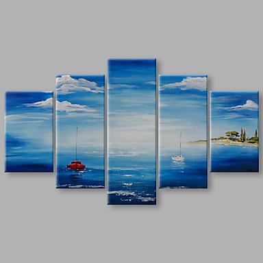 Pintura a Óleo Pintados à mão - Paisagem Artistíco Tela de pintura 5 Painéis