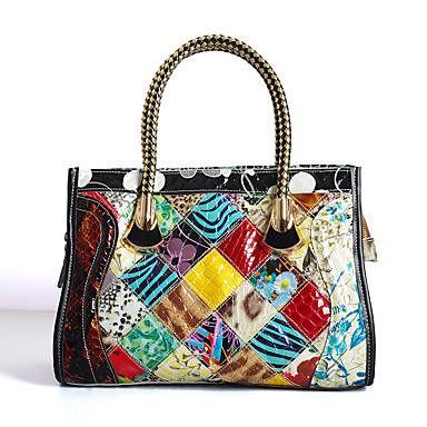 Women's Bags Cowhide Tote Pattern / Print / Plaid / Split Joint Rainbow