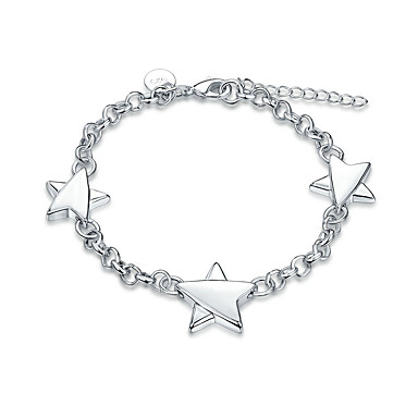 Women's Girls' Chain Bracelet Crystal Friendship Fashion Rock Punk Silver Plated Star Jewelry Christmas Gifts Wedding Party Special
