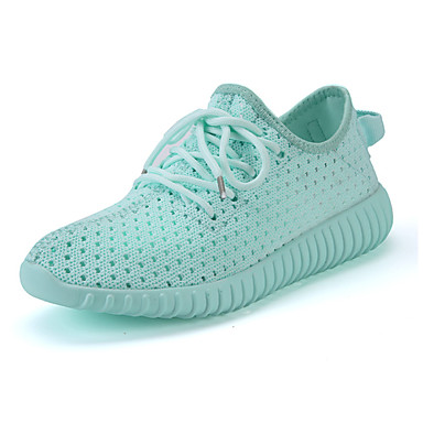 Mulheres Sapatos Tule Primavera Verão Solados com Luzes Tênis Corrida Sem Salto para Casual Ao ar livre Branco Cinzento Fúcsia Verde Rosa