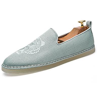 Homens sapatos Couro Ecológico Primavera Verão Solados com Luzes Conforto Mocassins e Slip-Ons para Casual Branco Cinzento Verde