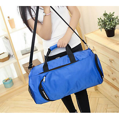Unisex Travel Bag Oxford Cloth Polyester All Seasons Casual Outdoor Cylinder Zipper Blue Black Red