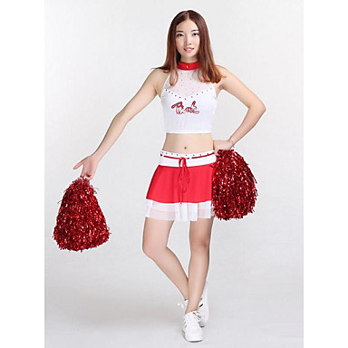 Cheerleader Costumes Outfits Women's Performance Polyester Crystals/Rhinestones Appliques 2 Pieces Sleeveless High Skirts Tops