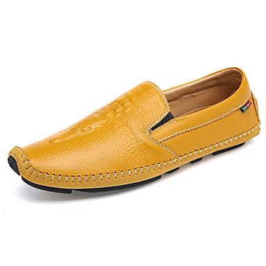 Miesten kengät PU Kevät Syksy Comfort Mokkasiinit varten ulko- Valkoinen Musta Keltainen Sininen Vaalean ruskea
