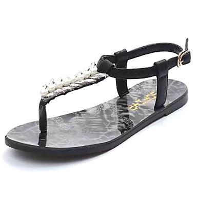 Mulheres Sapatos Couro Ecológico Verão Solados com Luzes Conforto Sandálias Sem Salto Dedo Aberto Pérolas para Casual Social Dourado Preto