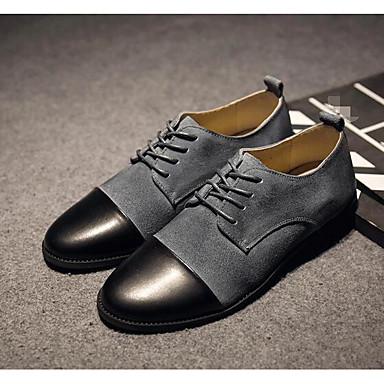 Miehet Kengät Nupukkinahka Kevät Comfort Oxford-kengät Käyttötarkoitus Kausaliteetti Musta Harmaa Purppura