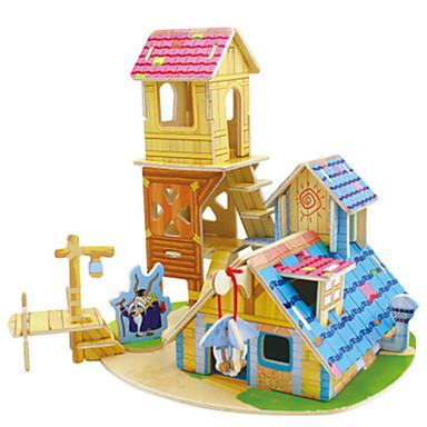 voordelige 3D-puzzels-Robotime 3D-puzzels Modelbouwsets Houten modellen Huis DHZ Kaart Papier Klassiek Kinderen Unisex Speeltjes Geschenk