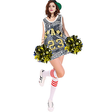 Cheerleader Costumes Outfits Women's Performance Polyester Paillettes 1 Piece Sleeveless High Dresses