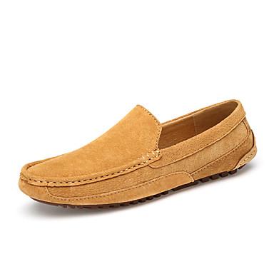 Homens sapatos Pele Couro Primavera Outono Conforto Mocassins e Slip-Ons para Casual Escritório e Carreira Ao ar livre Azul Escuro Marron