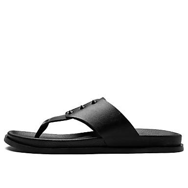 Men's Shoes Microfibre Summer Novelty Slippers & Flip-Flops For Casual Black Brown Dark Brown