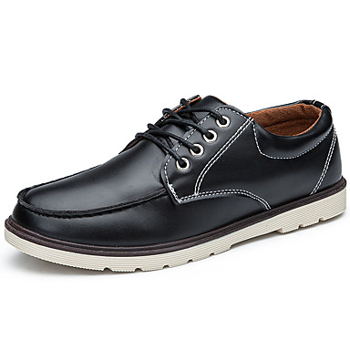Men's Shoes PU Spring Fall Fashion Boots Oxfords Walking Shoes Split Joint for Casual Outdoor Office & Career Black Brown Blue