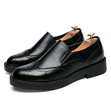 Miehet kengät PU Kesä Syksy Comfort Valopohjat muodollinen Kengät Mokkasiinit Käyttötarkoitus Kausaliteetti Musta Harmaa Punainen