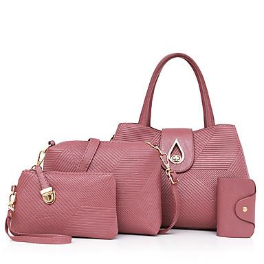 Mulheres Bolsas Couro Ecológico Conjuntos de saco Conjunto de bolsa de 4 pcs para Casual Todas as Estações Azul Preto Vermelho Rosa Roxo