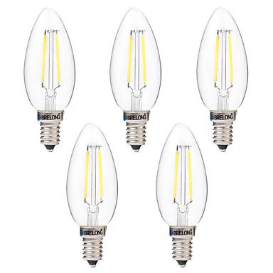 BRELONG® 5pçs 2W 200 lm E14 Lâmpadas de Filamento de LED C35 2 leds COB Decorativa Branco Quente Branco AC 220-240V
