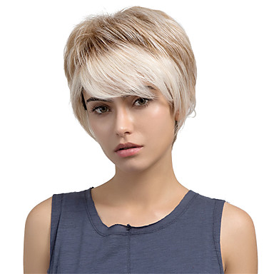 Charming Oblique Fringe Ombre Color Short Straight   Hair Human Hair Wigs