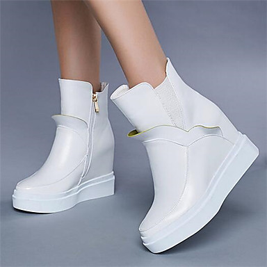 Women's Shoes PU Winter Fall Comfort Boots for Casual White Black