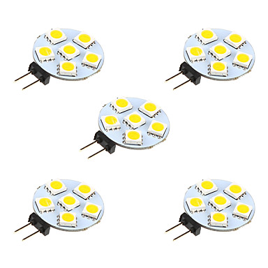 1W G4 LED Bi-pin Lights 6 leds SMD 5050 Warm White White 68lm 3000-3500/6000-6500K DC 12V