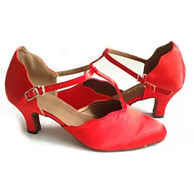 Women's Modern Shoes Fleece Sandal Buckle Cuban Heel Customizable Dance Shoes Red / Performance