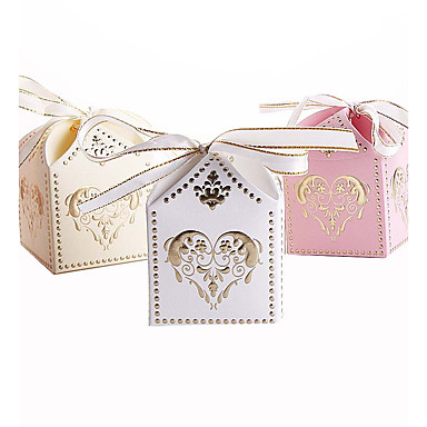 Cubic Card Paper Favor Holder with Ribbons Favor Boxes Gift Boxes - 25