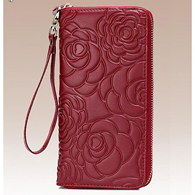 Women Checkbook Wallet Cowhide All Seasons Casual Rectangle Zipper Black Earth Yellow Ruby