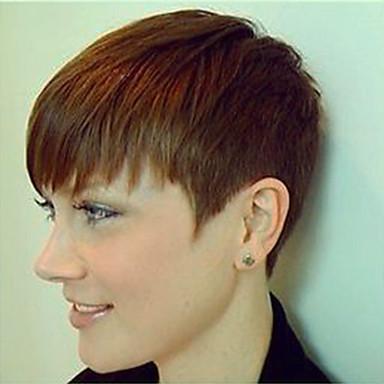 Klassisk Rett Maskinprodusert Ekte hår Parykker Høy kvalitet Daglig Medium Rødbrun