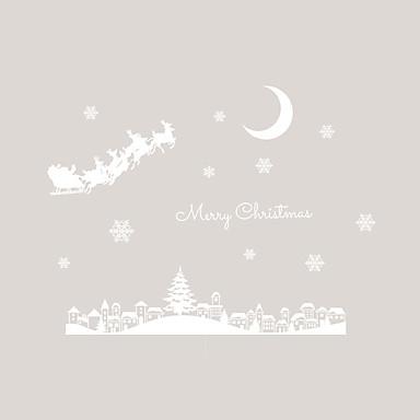 Window Film Window Decals Style Merry Christmas Moonlight Town Snow PVC Window Film