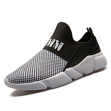 Men's Shoes Tulle Summer Fall Light Soles Sneakers for Casual Outdoor White Black