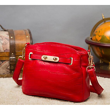 Women Shoulder Bag Cowhide All Seasons Casual Outdoor Square Zipper Blue Black Red