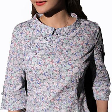 Bluse/Skjorte Klassisk og Tradisjonell Lolita Vintage Inspireret Cosplay Lolita-kjoler Blå Rød Grønn kaffe Trykt mønster Vintage Topp Til