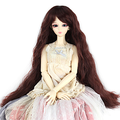 Kvinder Syntetiske parykker Kinky Krøllet Mørk Kastanjebrun Doll Wig costume Parykker