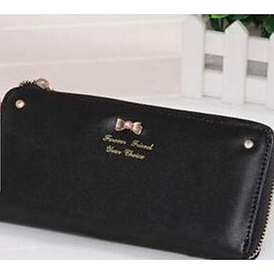 Women Checkbook Wallet PU All Seasons Casual Rectangle Zipper White Black Purple