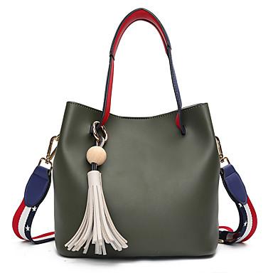 Women's Bags PU Shoulder Bag Tassel Green / Black / Blushing Pink