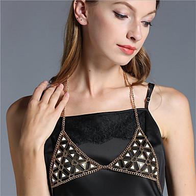 Mulheres Bijuteria de Corpo Cadeia corpo / Cadeia de barriga Acrílico Liga Dourado Prata Triângulo Fashion Jóias de fantasia Para Dia a