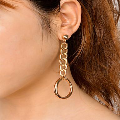 Mulheres Brincos dangle - Personalizada Pingente Euramerican Fashion Dourado Prata Formato Circular Brincos Para Diário Casual