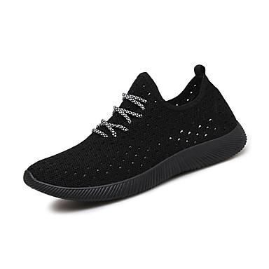 Homens sapatos Tule Primavera Outono Conforto Tênis Corrida Cadarço para Ao ar livre Preto Cinzento Vermelho