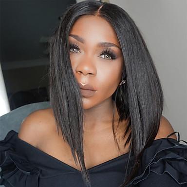 Aidot hiukset Full Lace / Liimaton kokoverkko Peruukki Suora 130% Tiheys Luonnollinen hiusviiva / Afro-amerikkalainen peruukki / 100% käsinsidottu Naisten Lyhyt / Keskikokoinen / Pitkä