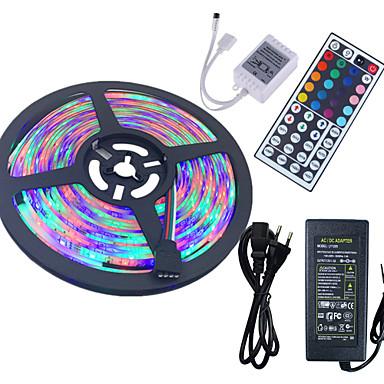 HKV 5m Conjuntos de Luzes 300 LEDs 3528 SMD RGB Controlo Remoto / Cortável / Impermeável 100-240 V / IP65 / Auto-Adesivo