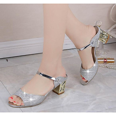 Women's Shoes Real Leather PU Spring Summer Comfort Basic Pump Sandals For Casual Gold Silver