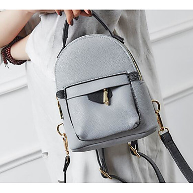 Women Shoulder Bag PU Polyester All Seasons Casual Outdoor Round Without Zipper Blushing Pink Gray