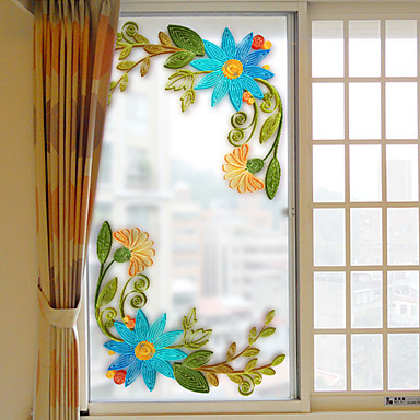 Window Film & Stickers Decoration Christmas Floral PVC / Vinyl Window Sticker