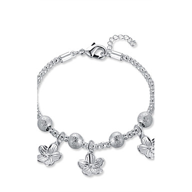 Women's Chain Bracelet / Charm Bracelet - Silver Plated Heart, Flower Vintage, Bohemian, Natural Bracelet Silver For Christmas / Party / Special Occasion