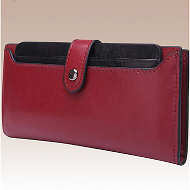 Women Money Clip Cowhide All Seasons Casual Rectangle Button Black Fuchsia Ruby