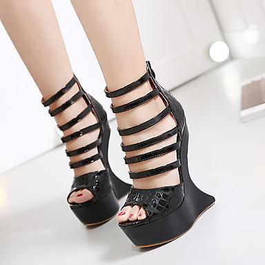 Naiset Kengät PU Kevät Comfort Sandaalit Käyttötarkoitus Kausaliteetti Musta Punainen