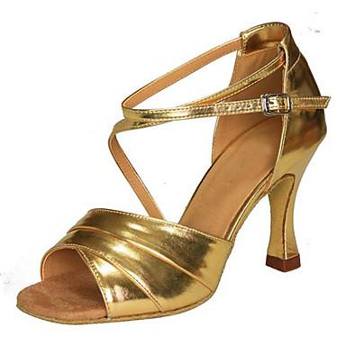 Women's Latin Shoes Faux Leather Sandal Buckle / Criss-Cross Cuban Heel Customizable Dance Shoes Gold / Performance